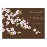 "Chocolate Brown and Cherry Blossom Wedding 5"" X 7"" Invitation Card"