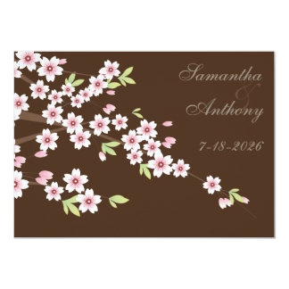 Chocolate Brown and Cherry Blossom Wedding Invites