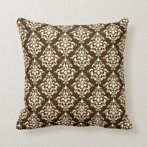 Chocolate Brown And Cream Damask Throw Pillow