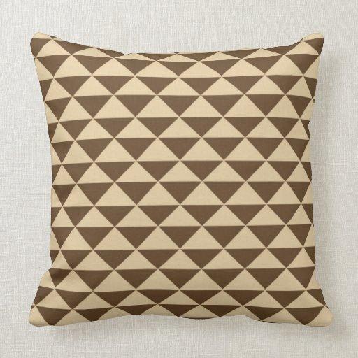 Chocolate Brown And Cream Tea Tiles Throw Pillow