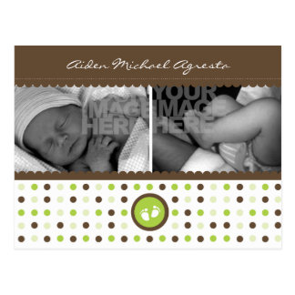 chocolate brown and green birth annoucement postcard