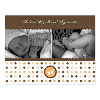 chocolate brown and orange birth announcement postcard