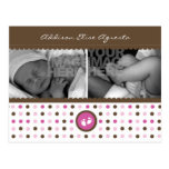 chocolate brown and pink birth announcement post cards