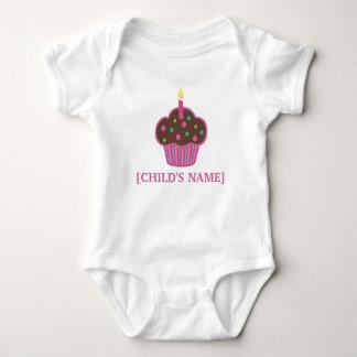 Chocolate Brown and Pink Birthday Cupcake Shirt