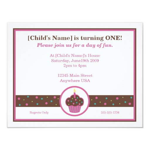 Chocolate Brown and Pink Cupcake Themed Invitation