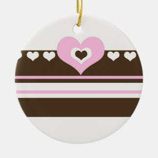 Chocolate Brown and Pink Heart Stripe Ceramic Ornament