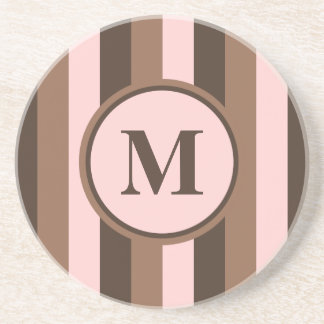Chocolate brown and pink monogrammed coaster