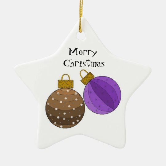Chocolate Brown and Purple Christmas Decorations Ceramic Ornament