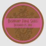 Chocolate Brown and Raspberry Pink Canning Labels Stickers