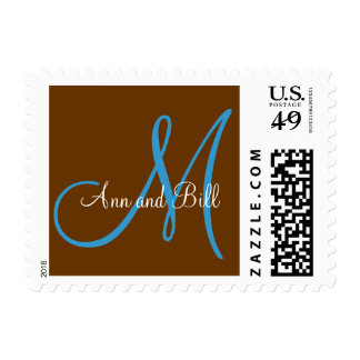 Chocolate Brown and Teal Monogram M Postage
