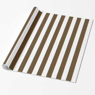 Chocolate Brown and White Bold Stripes Wrapping Paper