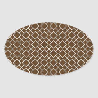 Chocolate Brown and White Geometric Pattern Pt8 Oval Sticker