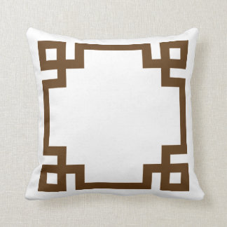 Chocolate Brown and White Greek Key Border Throw Pillow