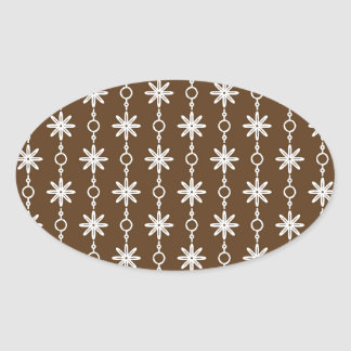 Chocolate Brown and White Pt 63 Oval Sticker