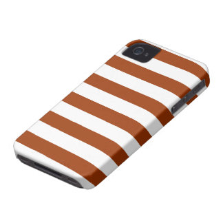 Chocolate Brown and White Stripe Pattern iPhone 4 Cases