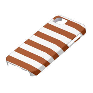 Chocolate Brown and White Stripe Pattern iPhone SE/5/5s Case