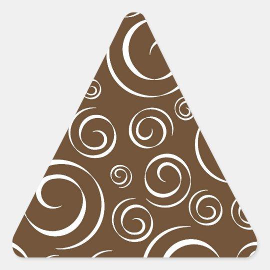Chocolate Brown and White Swirl Pattern Pt 81 Triangle Sticker
