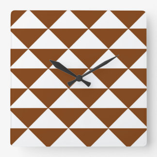 Chocolate Brown and White Triangles Square Wall Clock