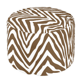 Chocolate Brown and White Zebra Print Pouf