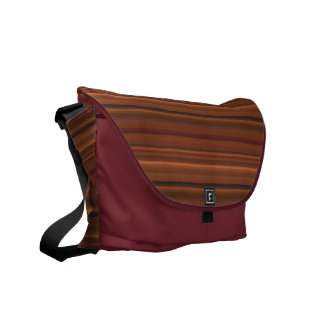 Chocolate Brown and Wine Striped Messenger Bag