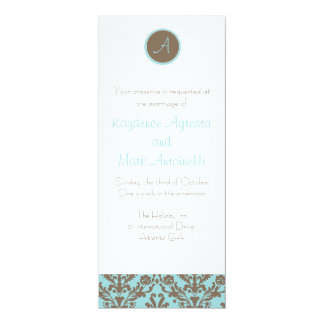 Chocolate Brown/Baby Blue Wedding Invitation