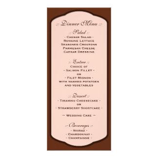 Chocolate Brown & Beige Wedding Reception Menus