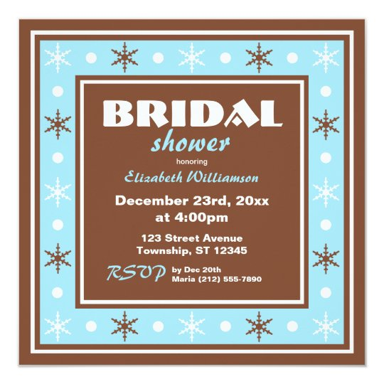 Chocolate Brown & Blue Bridal Shower Invitations
