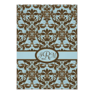 Chocolate Brown & Blue Damask Card