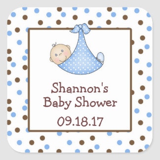 Chocolate Brown Blue Dot Baby Shower Favor Square Sticker