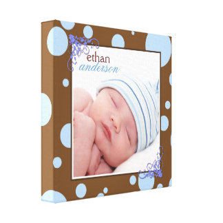 Chocolate Brown Blue Polka Dots Baby Photo Canvas