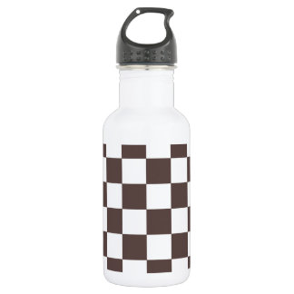 Chocolate Brown Checkerboard Pattern Water Bottle