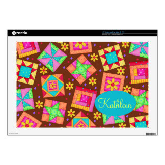 "Chocolate Brown Colorful Quilt Patchwork Block Art 17"" Laptop Decals"