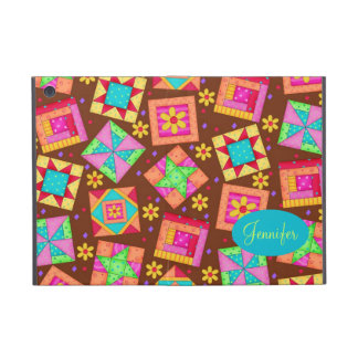 Chocolate Brown Colorful Quilt Patchwork Block Art iPad Mini Covers