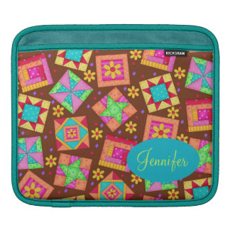 Chocolate Brown Colorful Quilt Patchwork Block Art Sleeves For iPads