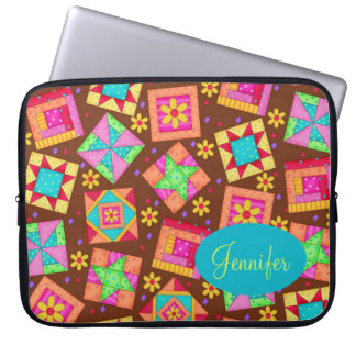 Chocolate Brown Colorful Quilt Patchwork Block Art Computer Sleeves