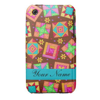 Chocolate Brown Colorful Quilt Patchwork Blocks Case-Mate iPhone 3 Case