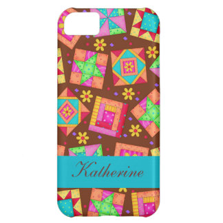 Chocolate Brown Colorful Quilt Patchwork Blocks Cover For iPhone 5C