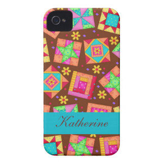 Chocolate Brown Colorful Quilt Patchwork Blocks iPhone 4 Cover
