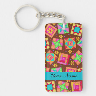 Chocolate Brown Colorful Quilt Patchwork Blocks Keychain