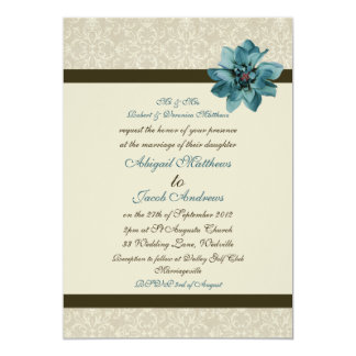 Chocolate Brown Cream And Teal Blue Flower Wedding Card