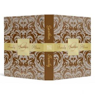 Chocolate Brown Damask Gold Ribbon Family Binder binder