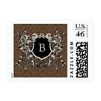 Chocolate Brown Damask Monogram Postage Stamps