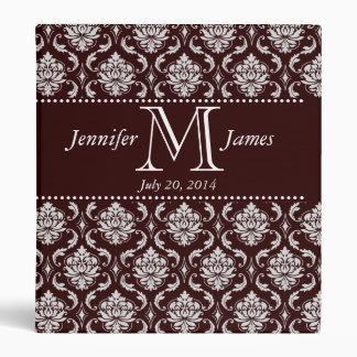 Chocolate Brown Damask Monogram Wedding Album 3 Ring Binder