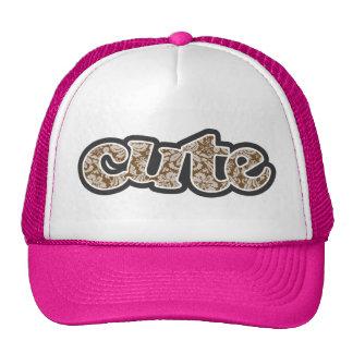Chocolate Brown Damask Pattern Mesh Hats