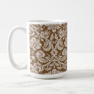 Chocolate Brown Damask Pattern Classic White Coffee Mug