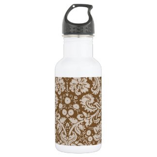 Chocolate Brown Damask Pattern Water Bottle