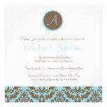 Chocolate Brown Damask Wedding Shower Invitation