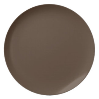 Chocolate Brown - Dark Tree Trunk Brown Color Only Dinner Plate