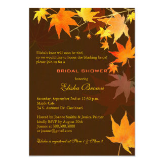 "Chocolate Brown Fall Maple Bridal Shower Invites 5"" X 7"" Invitation Card"