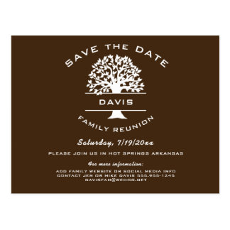 Chocolate Brown Family Tree Reunion Save the Date Postcard